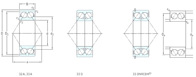 70 mm x 150 mm x 63,5 mm  SKF 3314A angular contact ball bearings