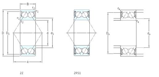 70 mm x 150 mm x 63,5 mm  SKF 3314A-2Z angular contact ball bearings